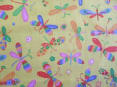Dragonfly Print Polycotton Fabric in Yellow